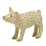 Herend Figurine Smiling Pig Butterscotch Fishnet