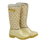 Herend Figurine Rain Boots Butterscotch Fishnet