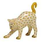 Herend Figurine Arched Kitty Cat Butterscotch Fishnet