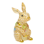 Herend Bunny with Christmas Lights Figurine Butterscotch Fishnet