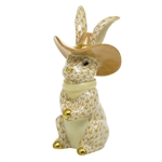 Herend Cowboy Bunny Rabbit Figurine Butterscotch Fishnet