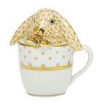 Herend Teacup Bunny Rabbit Figurine Butterscotch Fishnet