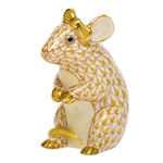 Herend Mouse with Bow Figurine Butterscotch Fishnet