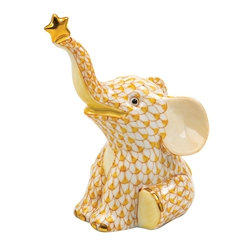 Herend Reach For The Stars Elephant Figurine Butterscotch Fishnet