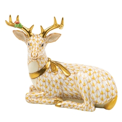 Herend Christmas Deer Lying Figurine Butterscotch Fishnet