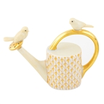 Herend Watering Can with Birds Figurine Butterscotch Fishnet