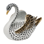 Herend Swan Figurine Black Fishnet