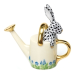 Herend Figurine Watering Can Bunny Rabbit Black Fishnet