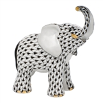 Herend Young Elephant Figurine Black Fishnet