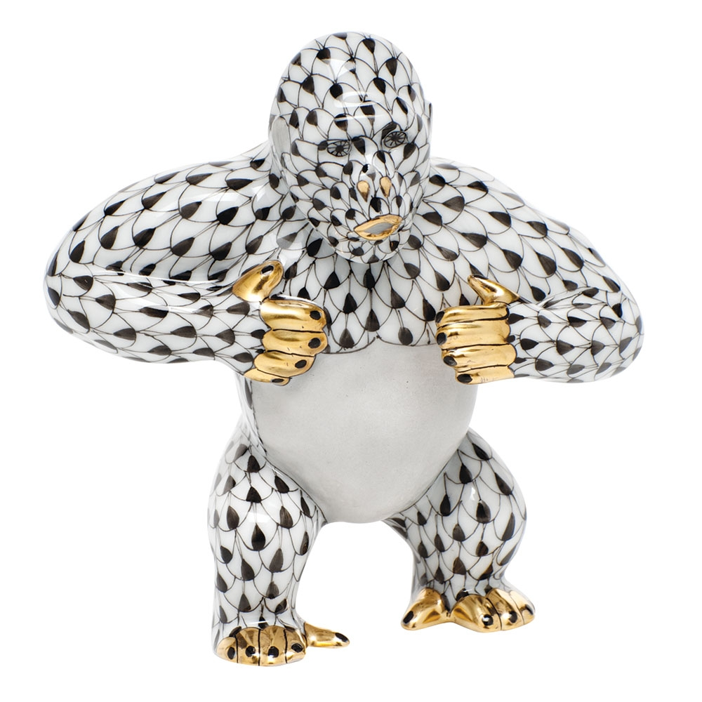 Herend gorilla figurine black fishnet at herendstore - Gorilla figurines ...