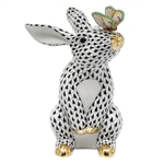 Herend Bunny with Butterfly Figurine Black Fishnet