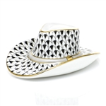 Herend Cowboy Hat Figurine Black Fishnet