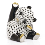 Herend Playful Panda Figurine Black Fishnet