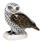 Herend Figurine Burrowing Owl Black Fishnet