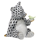 Herend Figurine Baby Bear with Bird Black Fishnet