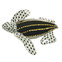Herend Figurine Leatherback Turtle Black Fishnet