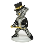 Herend Figurine Tap Dance Bear Black Fishnet