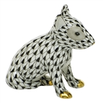 Herend Figurine English Bull Terrier Puppy Black Fishnet