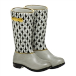 Herend Figurine Rain Boots Black Fishnet