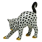 Herend Figurine Arched Kitty Cat Black Fishnet