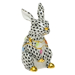 Herend Bunny with Christmas Lights Figurine Black Fishnet
