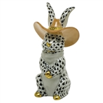 Herend Cowboy Bunny Rabbit Figurine Black Fishnet