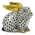 Herend Angel Bunny Rabbit Figurine Black Fishnet