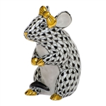 Herend Mouse with Bow Figurine Black Fishnet