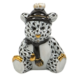 Herend Winter Bear Figurine Black Fishnet
