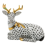 Herend Christmas Deer Lying Figurine Black Fishnet
