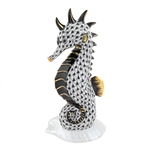 Herend Seahorse on Scallop Shell Black Fishnet