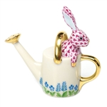 Herend Figurine Watering Can Bunny Rabbit Raspberry Fishnet