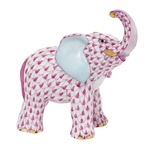Herend Young Elephant Figurine Raspberry Fishnet