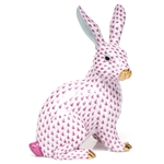 Herend Large Bunny Sitting Figurine Raspberry Fishnet