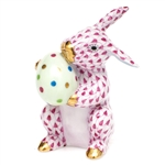 Herend Easter Bunny Figurine Raspberry Fishnet