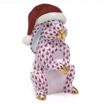 Herend Santa Bunny Figurine Raspberry Fishnet