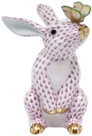 Herend Bunny with Butterfly Figurine Raspberry Fishnet