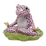 Herend Yoga Frog Figurine Raspberry Fishnet