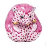 Herend Baby Hedgehog Figurine Raspberry Fishnet