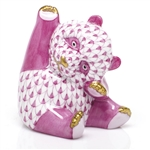 Herend Playful Panda Figurine Raspberry Fishnet