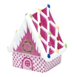 Herend Figurine Gingerbread House Raspberry Fishnet