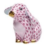 Herend Sitting Lop Ear Bunny Raspberry Fishnet