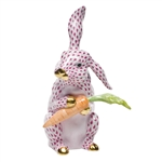 Herend Large Bunny with Carrot Raspberry Fishnet