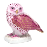 Herend Figurine Burrowing Owl Raspberry Fishnet