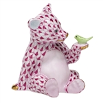 Herend Figurine Baby Bear with Bird Raspberry Fishnet