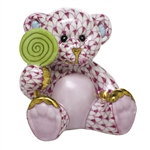 Herend Figurine Sweet Tooth Teddy Bear Raspberry Fishnet