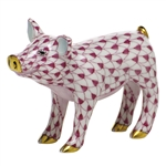 Herend Figurine Smiling Pig Raspberry Fishnet
