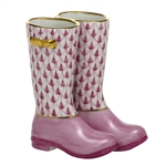 Herend Figurine Rain Boots Raspberry Fishnet