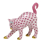 Herend Figurine Arched Kitty Cat Raspberry Fishnet