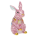 Herend Bunny with Christmas Lights Figurine Raspberry Fishnet